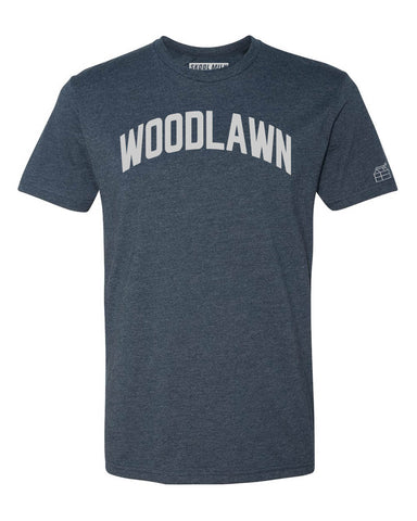 Navy Blue Woodlawn T-Shirt with Silver Letters
