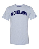 Sky Blue Woodlawn Bronx T-Shirt with Blue Letters
