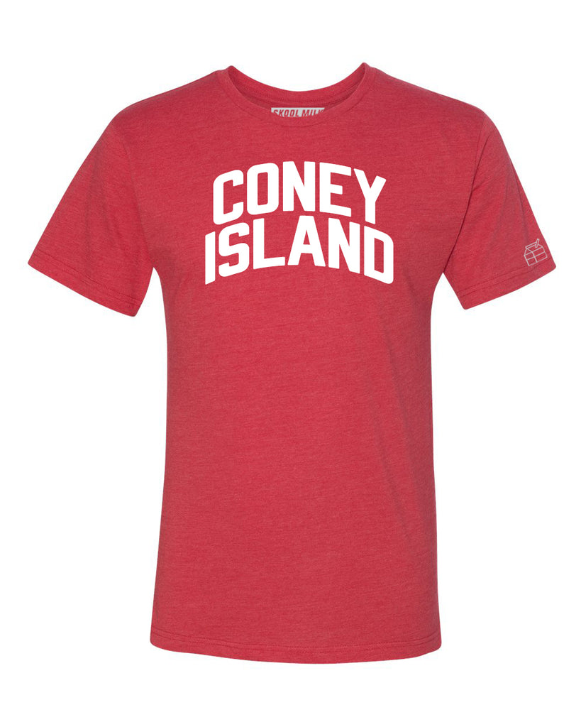 Red Coney Island T-shirt with White Reflective Letters
