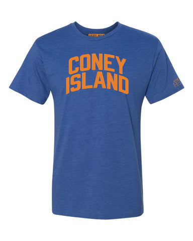 Blue Coney Island T-shirt with Knicks Orange Letters