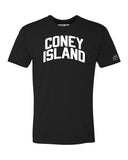 Black Coney Island T-shirt with White Reflective Letters