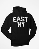 Black East New York Hoodie with White Reflective Letters