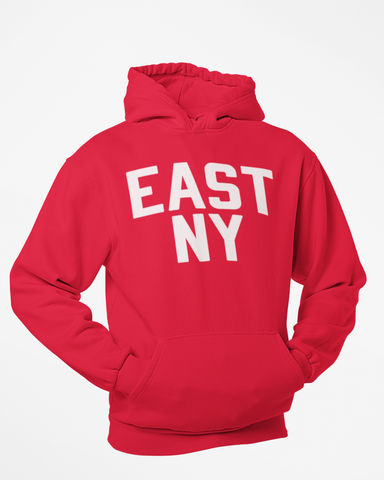 Red East New York Hoodie with White Reflective Letters