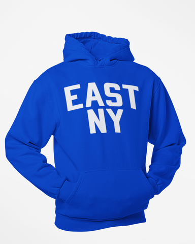 Blue East New York Hoodie with White Reflective Letters