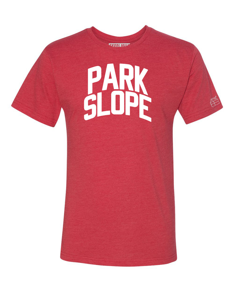 Red Park Slope T-shirt with White Reflective Letters