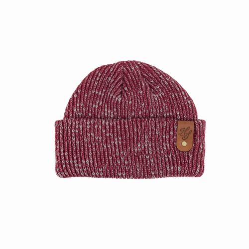 CUSTOM RIBBED MARLED BEANIE WITH RIVETED MEDIUM BROWN LEATHER PATCH BY DEKNI CREATIONS