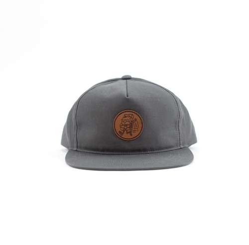 Yupoong 6502 Charcoal Medium Brown Leather Patch Hat by Dekni Creations for wholesale bulk or promotional
