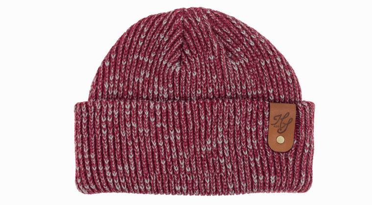 beanie with leather tag