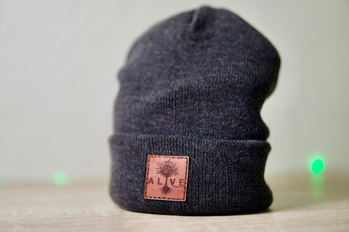 custom stocking cap with leather logo patch