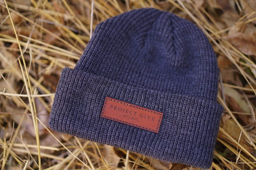 engraved leather patch beanies