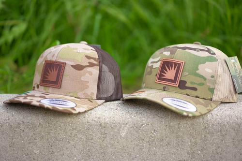 multicam trucker with leather patch custom with my logo