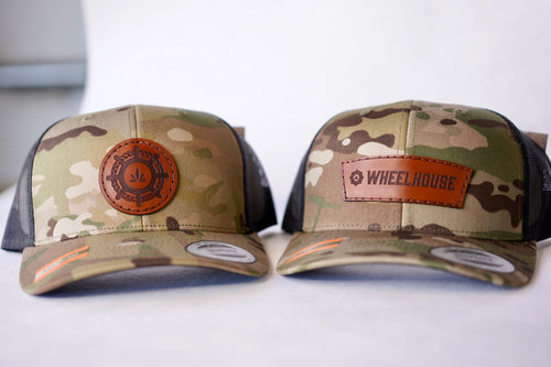 multicam hats with custom patch design