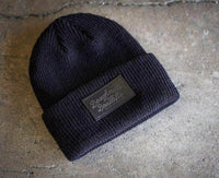black beanie with personalized Laser engraved black leather patch by dekni creations