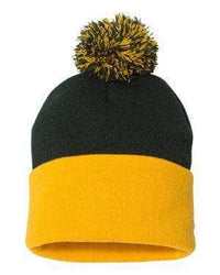 custom sp15 pom pom knit cap with leather patch