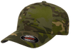 custom 6277mc camo hat with leather patch