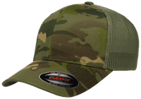 custom camo trucker hat with leather patch