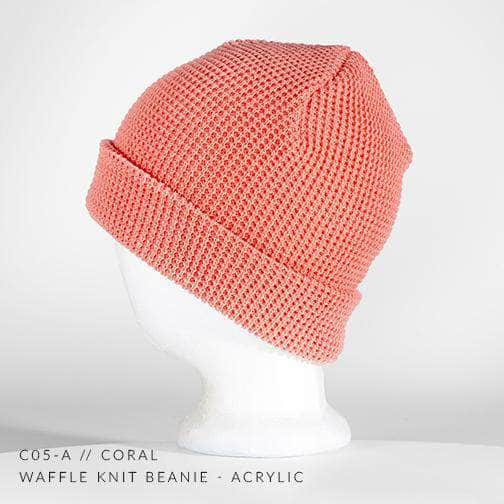 3e0cc733 coral pink waffle knit beanie for custom personalized Embroidery and Laser  engraved leather patch