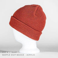 rust orange waffle knit beanie for custom personalized Embroidery and Laser engraved leather patch