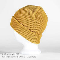 wheat yellow waffle knit beanie for custom personalized Embroidery and Laser engraved leather patch