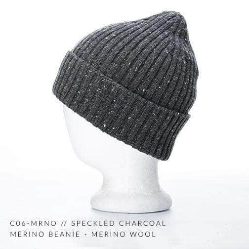 ecae1a3ee45 speckled charcoal merino wool beanie custom promotional Embroidery and  Laser engraved leather patch