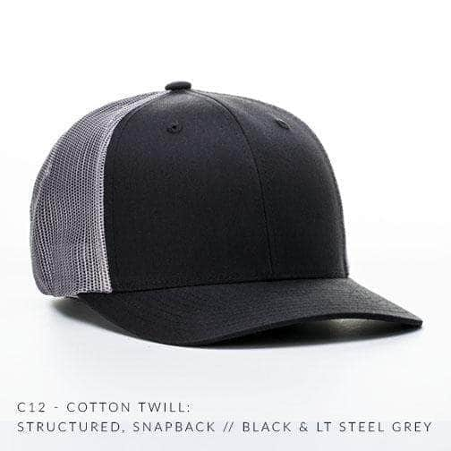Personalised Embroidered Text On Vintage Black and White Snapback Trucker Cap