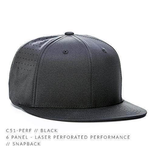 fb8aad2c72b78 Black 6 PANEL PERFORATED PERFORMANCE CUSTOM SNAPBACK cap Embroidery  engraved leather patch