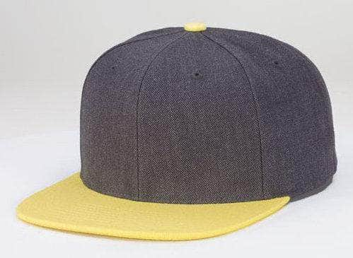 4b4e505e766 Charcoal Yellow 6 PANEL WOOL CUSTOM SNAPBACK cap for Embroidery   laser  engraving leather patch