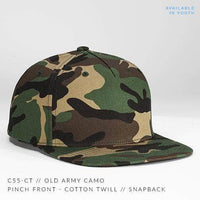 Camo 6 PANEL PINCH Cotton Twill CUSTOM SNAPBACK cap for Embroidery & engraving leather patch