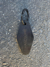 Black Personalized Custom Laser Engraved Hotel Leather Key Chain in bulk and promo swag branding