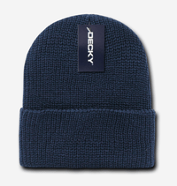 navy cuff knit beanie hat for custom personalized Embroidery and Laser engraved leather patch