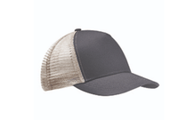 Grey White Econscious Recycled Curve 5-Panel Trucker Hat Embroidery & engraving leather patch