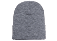 Grey Knit Winter Beanie Hat for Custom Embroidery & promotional laser engraving leather patch