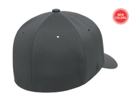 Dark Grey Delta cap water resistant for custom Embroidery and Laser engraved leather patch flexfit