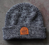 beanie with personalized engraved leather patch by dekni creations