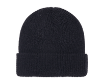 Black Ribbed Cuffed Knit Beanie for custom Embroidery and Laser etched leather patch by flexfit