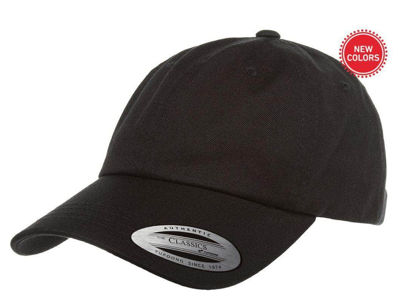 7943472fe black Low Profile Cotton Twill Dad Hat for custom Embroidery and Laser  engraved leather patch