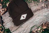 brown beanie with personalized Laser engraved leather patch by dekni creations