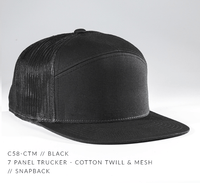 custom 7 panel trucker hat with leather patch