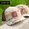 custom multicam trucker with leather patch with my logo no minimum