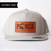 custom snapback with leather patch