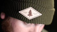 green custom leather patch beanies knit caps by dekni creations