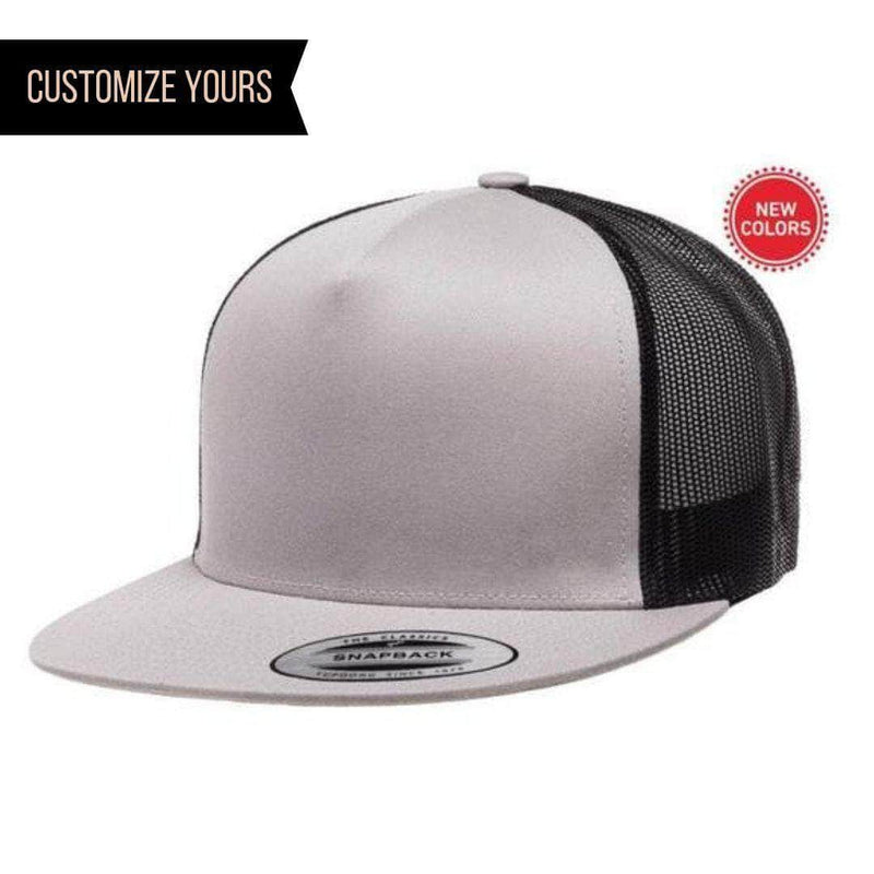ecbb43871a12d Silver Black Trucker Mesh cap for custom promotional Embroidery and Laser  engraved leather patch
