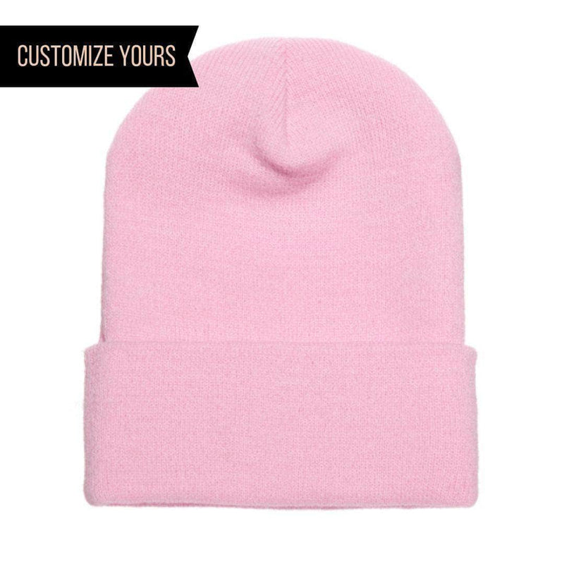 df3c4865 Baby Pink Cuffed Knit Custom Beanie for easy Embroidery and Laser etched  leather patch by Flexfit