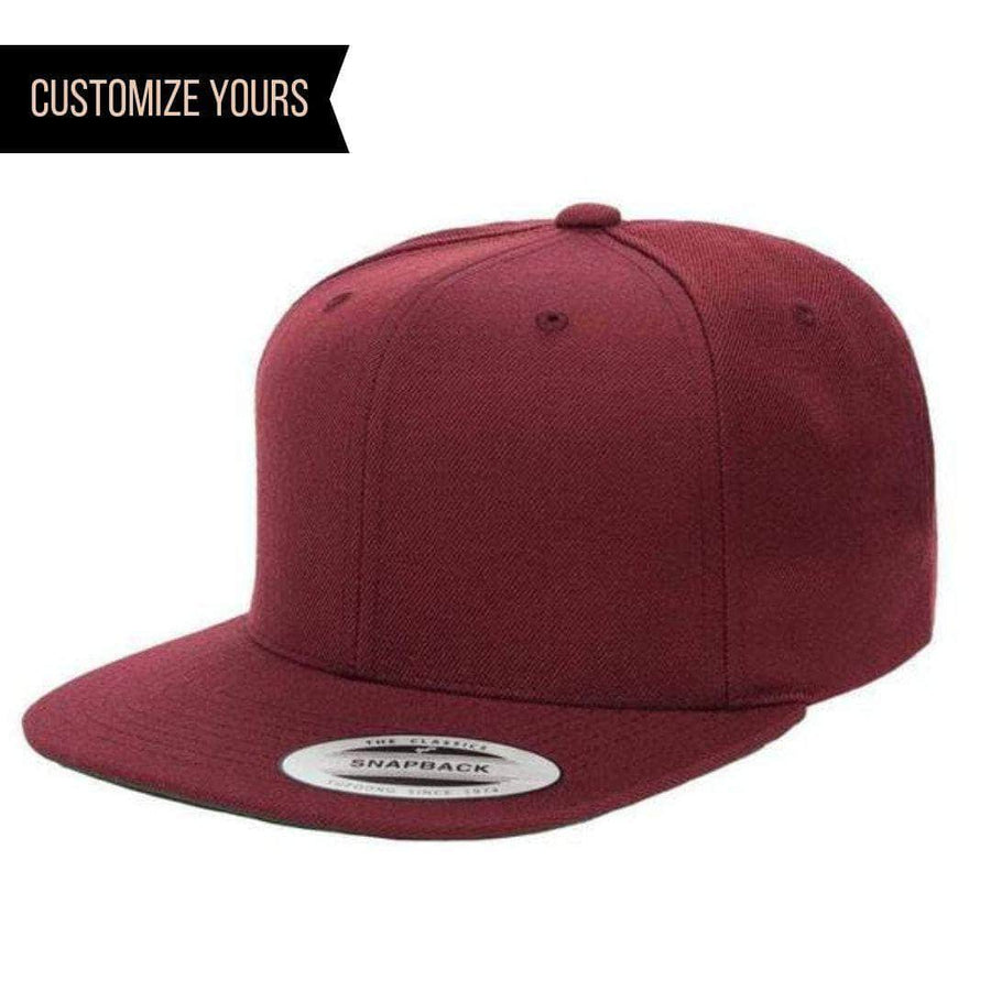 9fb0e39c2fed3 Custom Maroon Snapback cap for personalized promotional Laser engraved  leather patch and Embroidery