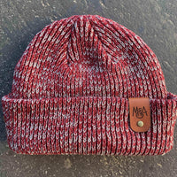 red Ribbed Marled beanie with personalized Laser engraved leather patch