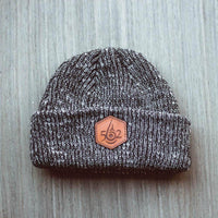 black Ribbed Marled beanie with personalized Laser engraved leather patch