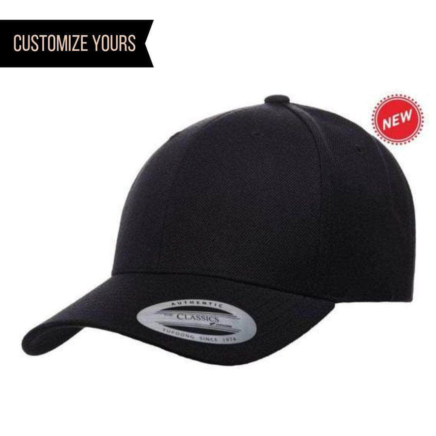 e7ce7fa406e79 Black Curved Visor Snapback Cap for custom laser engraved leather patch    promotional Embroidery