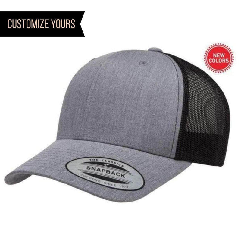fd799b324a418 Heather Black Retro Trucker Hat for custom laser engraving leather patch  and promotional Embroidery