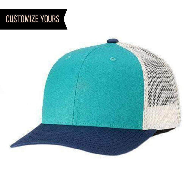 f110e610e7429 Teal Blue White Snapback Pre-curved Trucker Cap for custom laser engraved  leather patch &