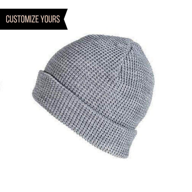 8e64645d heather grey waffle knit beanie for custom personalized Embroidery and Laser  engraved leather patch